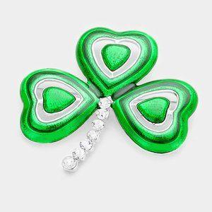St Patricks Day clover shamrock brooch pin